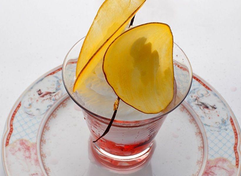 Ванильно-манговый десерт с щербетом в ресторане «Турандот»