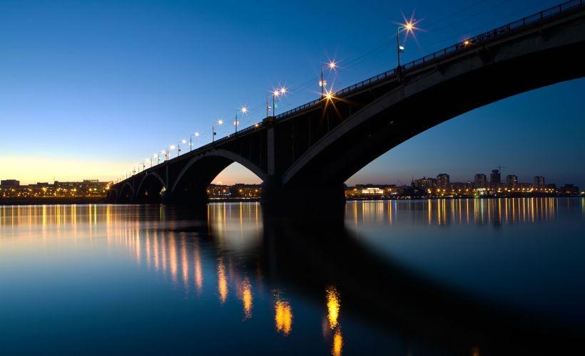 Коммунальный мост и набережная Енисея